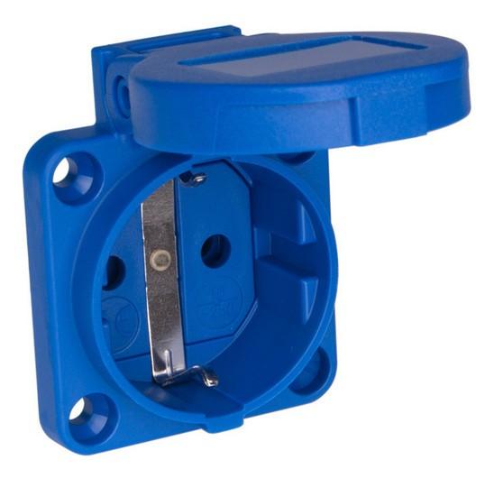 48017 PCE 105-0b Einbausteckdose Schuko blau