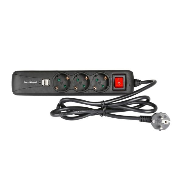 57704 Adam Hall 8747 USB - 3-fach Steckdosenleiste mit Schalter und 2 USB-Ladebuchsen
