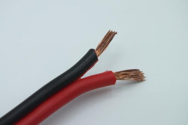 64906 LS-Kabel Flachkabel 2x1,5 mm² schwarz/rot